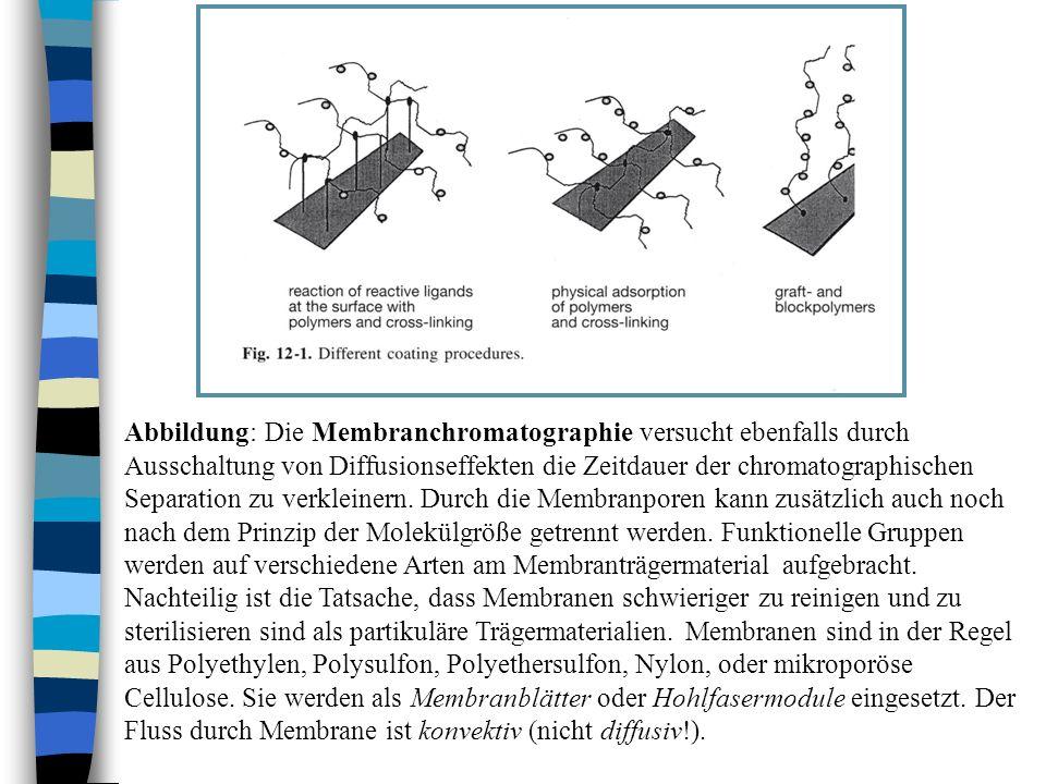 Abbildung: Die Membranchromatographie versucht ebenfalls durch Ausschaltung von Diffusionseffekten die Zeitdauer der chromatographischen Separation zu verkleinern.