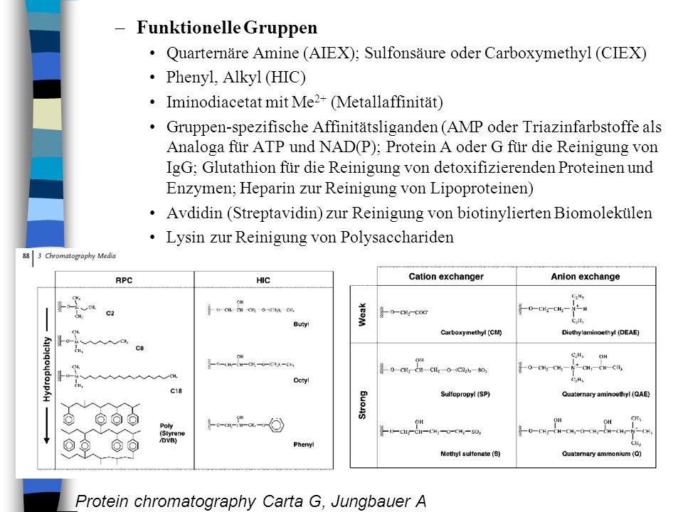 –Funktionelle Gruppen Quarternäre Amine (AIEX); Sulfonsäure oder Carboxymethyl (CIEX) Phenyl, Alkyl (HIC) Iminodiacetat mit Me 2+ (Metallaffinität) Gruppen-spezifische Affinitätsliganden (AMP oder Triazinfarbstoffe als Analoga für ATP und NAD(P); Protein A oder G für die Reinigung von IgG; Glutathion für die Reinigung von detoxifizierenden Proteinen und Enzymen; Heparin zur Reinigung von Lipoproteinen) Avdidin (Streptavidin) zur Reinigung von biotinylierten Biomolekülen Lysin zur Reinigung von Polysacchariden Protein chromatography Carta G, Jungbauer A