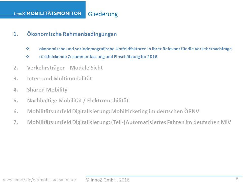 2 2016 www.innoz.de/de/mobilitaetsmonitor 1.Ökonomische Rahmenbedingungen  ökonomische und soziodemografische Umfeldfaktoren in ihrer Relevanz für die Verkehrsnachfrage  rückblickende Zusammenfassung und Einschätzung für 2016 2.Verkehrsträger – Modale Sicht 3.Inter- und Multimodalität 4.Shared Mobility 5.Nachhaltige Mobilität / Elektromobilität 6.Mobilitätsumfeld Digitalisierung: Mobilticketing im deutschen ÖPNV 7.Mobilitätsumfeld Digitalisierung: (Teil-)Automatisiertes Fahren im deutschen MIV Gliederung