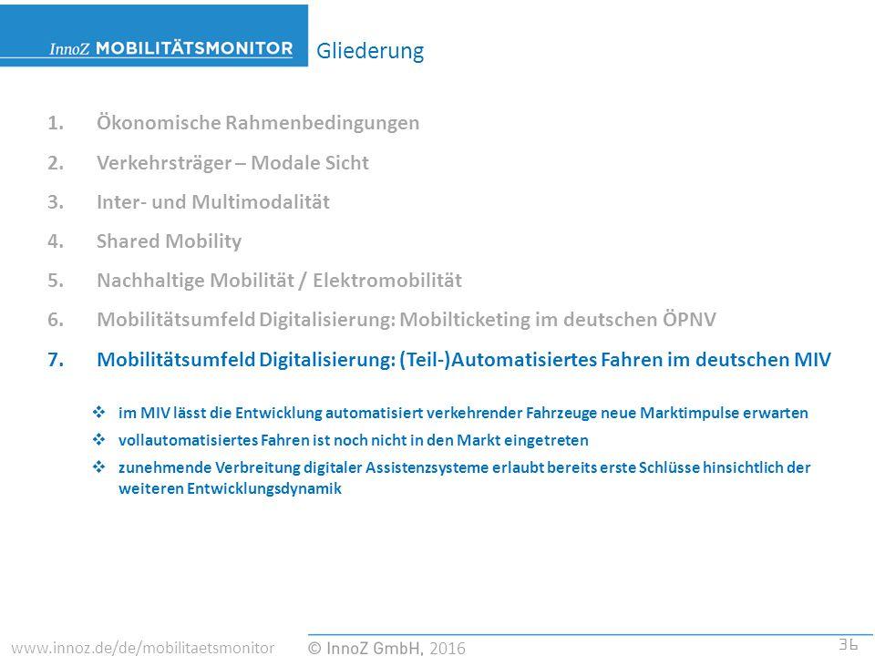 36 2016 www.innoz.de/de/mobilitaetsmonitor 1.Ökonomische Rahmenbedingungen 2.Verkehrsträger – Modale Sicht 3.Inter- und Multimodalität 4.Shared Mobility 5.Nachhaltige Mobilität / Elektromobilität 6.Mobilitätsumfeld Digitalisierung: Mobilticketing im deutschen ÖPNV 7.Mobilitätsumfeld Digitalisierung: (Teil-)Automatisiertes Fahren im deutschen MIV  im MIV lässt die Entwicklung automatisiert verkehrender Fahrzeuge neue Marktimpulse erwarten  vollautomatisiertes Fahren ist noch nicht in den Markt eingetreten  zunehmende Verbreitung digitaler Assistenzsysteme erlaubt bereits erste Schlüsse hinsichtlich der weiteren Entwicklungsdynamik Gliederung