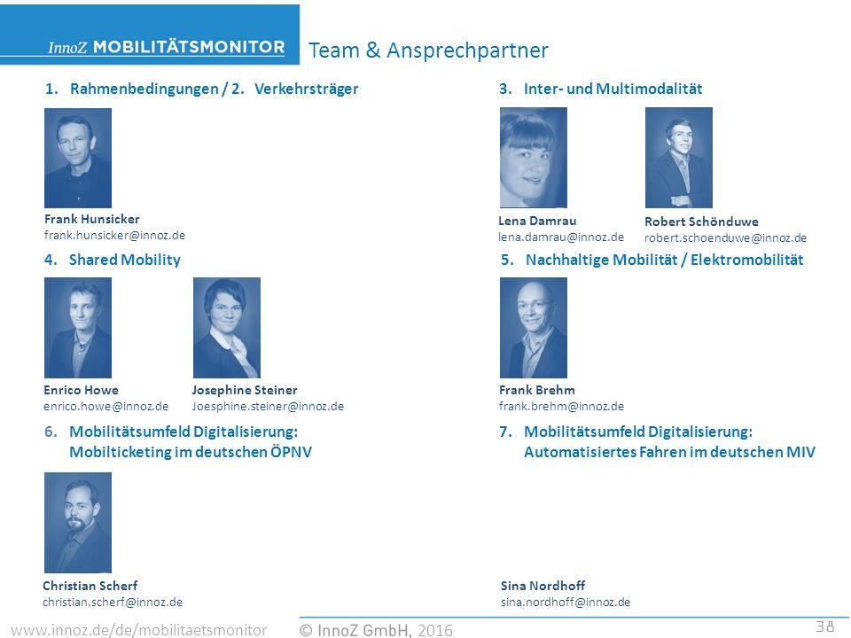 38 2016 www.innoz.de/de/mobilitaetsmonitor Team & Ansprechpartner 1.Rahmenbedingungen / 2.