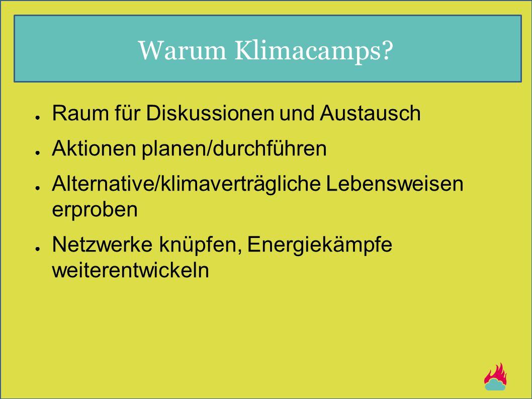 Warum Klimacamps? ● Raum für Diskussionen und Austausch ● Aktionen planen/durchführen ● Alternative/klimaverträgliche Lebensweisen erproben ● Netzwerk