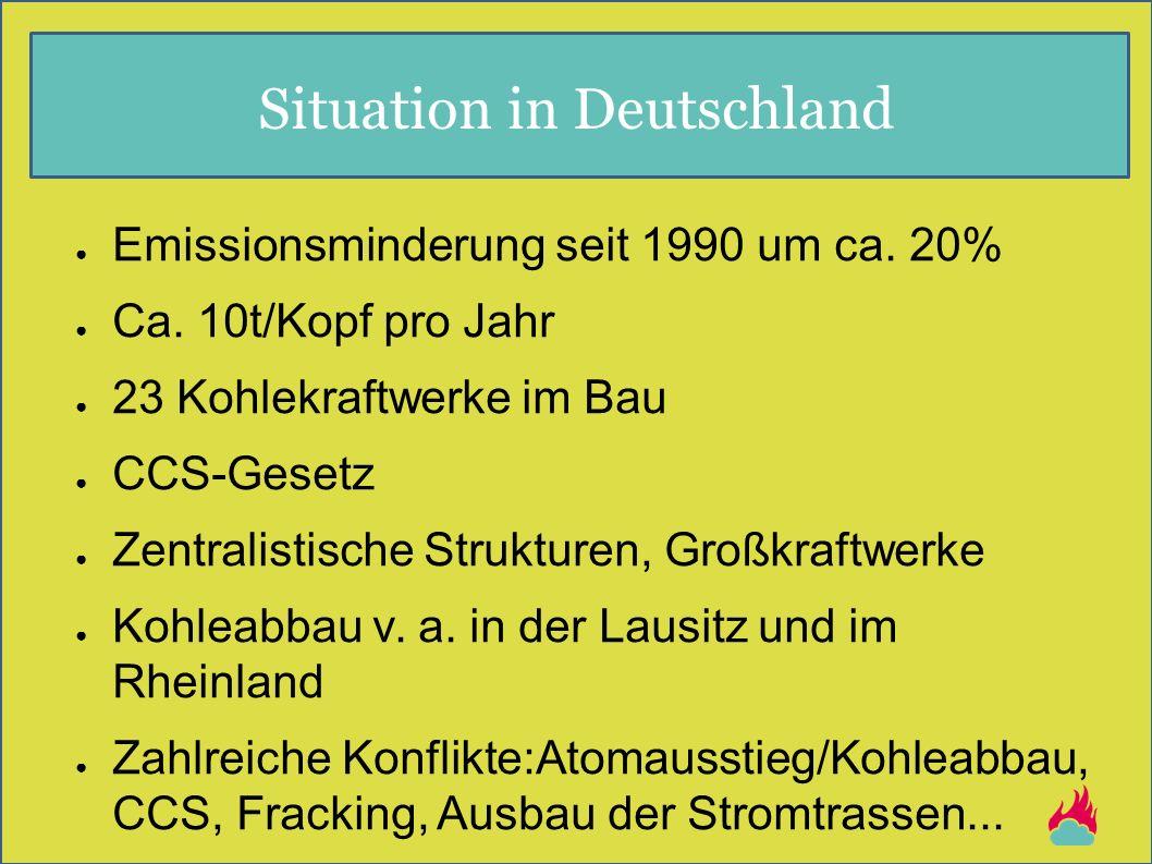 Situation in Deutschland ● Emissionsminderung seit 1990 um ca. 20% ● Ca. 10t/Kopf pro Jahr ● 23 Kohlekraftwerke im Bau ● CCS-Gesetz ● Zentralistische