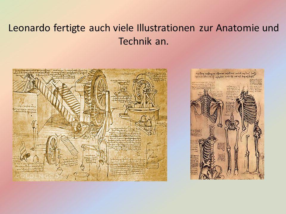 Leonardo fertigte auch viele Illustrationen zur Anatomie und Technik an.