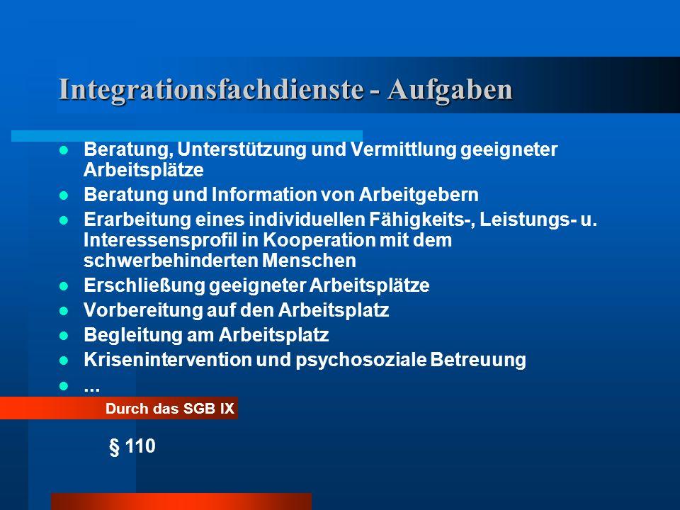 Integrationsfachdienste - Aufgaben Beratung, Unterstützung und Vermittlung geeigneter Arbeitsplätze Beratung und Information von Arbeitgebern Erarbeitung eines individuellen Fähigkeits-, Leistungs- u.