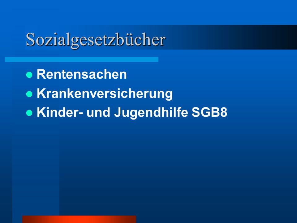 Sozialgesetzbücher Arbeitsförderung SGB 8 Unfallversicherung Rehabilitation und Teilhabe SGB9 sowie BSHG