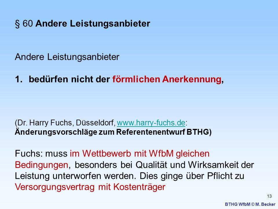 13 BTHG WfbM © M. Becker § 60 Andere Leistungsanbieter Andere Leistungsanbieter 1.bedürfen nicht der förmlichen Anerkennung, (Dr. Harry Fuchs, Düsseld