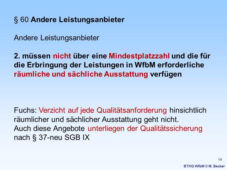 14 BTHG WfbM © M. Becker § 60 Andere Leistungsanbieter Andere Leistungsanbieter 2. müssen nicht über eine Mindestplatzzahl und die für die Erbringung