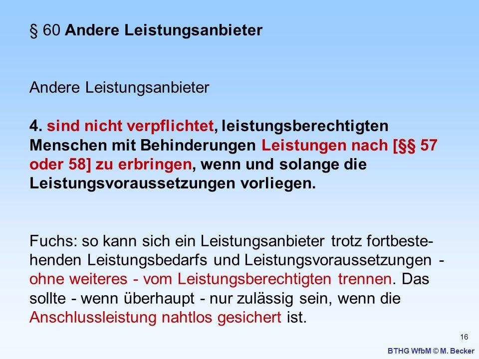 16 BTHG WfbM © M. Becker § 60 Andere Leistungsanbieter Andere Leistungsanbieter 4. sind nicht verpflichtet, leistungsberechtigten Menschen mit Behinde