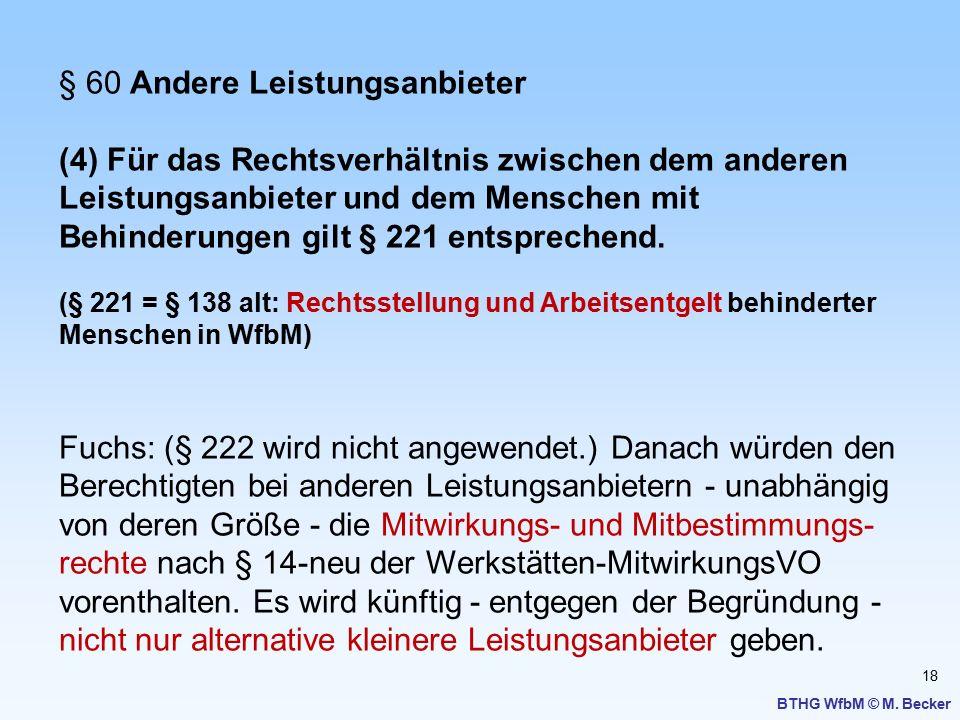 18 BTHG WfbM © M. Becker § 60 Andere Leistungsanbieter (4) Für das Rechtsverhältnis zwischen dem anderen Leistungsanbieter und dem Menschen mit Behind