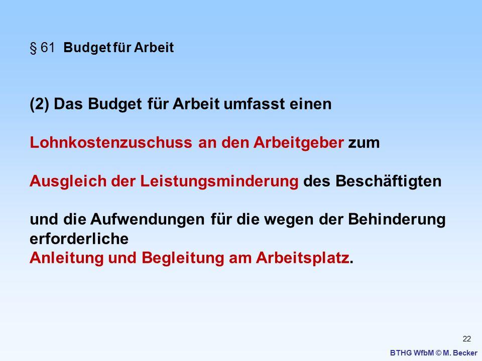 22 BTHG WfbM © M. Becker § 61 Budget für Arbeit (2) Das Budget für Arbeit umfasst einen Lohnkostenzuschuss an den Arbeitgeber zum Ausgleich der Leistu