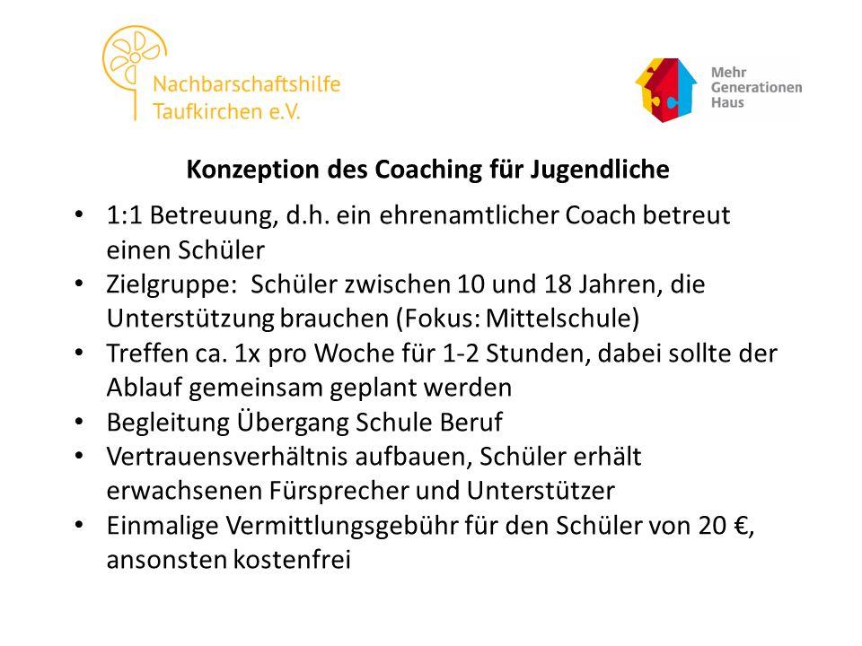 Konzeption des Coaching für Jugendliche 1:1 Betreuung, d.h.