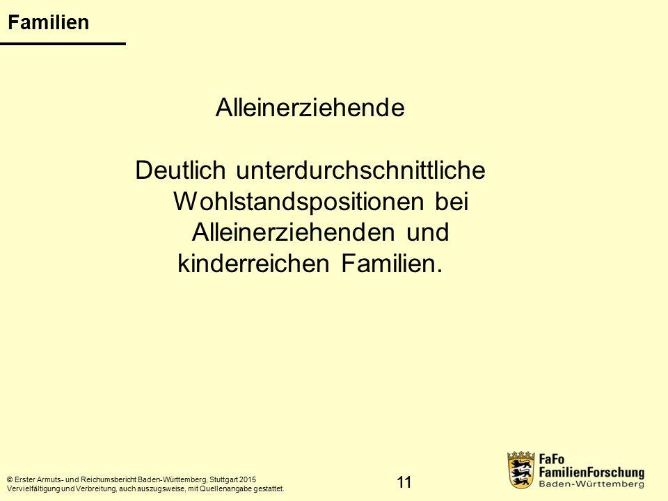 11 Familien © Erster Armuts- und Reichumsbericht Baden-Württemberg, Stuttgart 2015 Vervielfältigung und Verbreitung, auch auszugsweise, mit Quellenangabe gestattet.