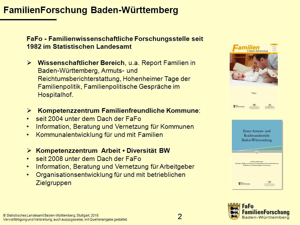 22 FamilienForschung Baden-Württemberg © Statistisches Landesamt Baden-Württemberg, Stuttgart, 2015 Vervielfältigung und Verbreitung, auch auszugsweise, mit Quellenangabe gestattet.