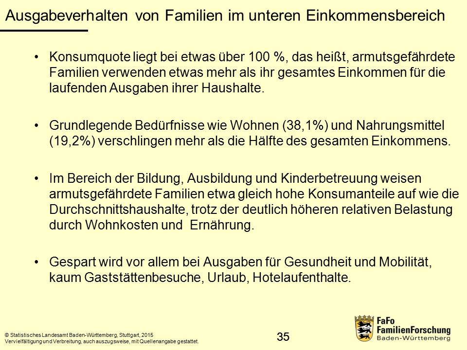 35 Ausgabeverhalten von Familien im unteren Einkommensbereich © Statistisches Landesamt Baden-Württemberg, Stuttgart, 2015 Vervielfältigung und Verbreitung, auch auszugsweise, mit Quellenangabe gestattet.