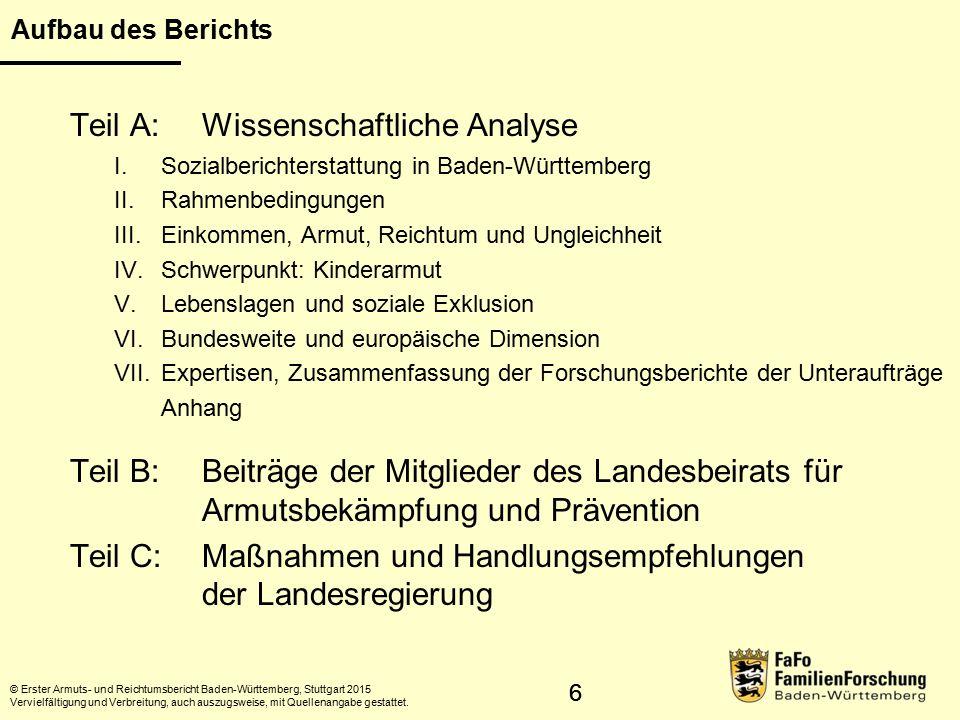 17 Armutsgefährdung unter 18-Jähriger © Statistisches Landesamt Baden-Württemberg, Stuttgart, 2015 Vervielfältigung und Verbreitung, auch auszugsweise, mit Quellenangabe gestattet.