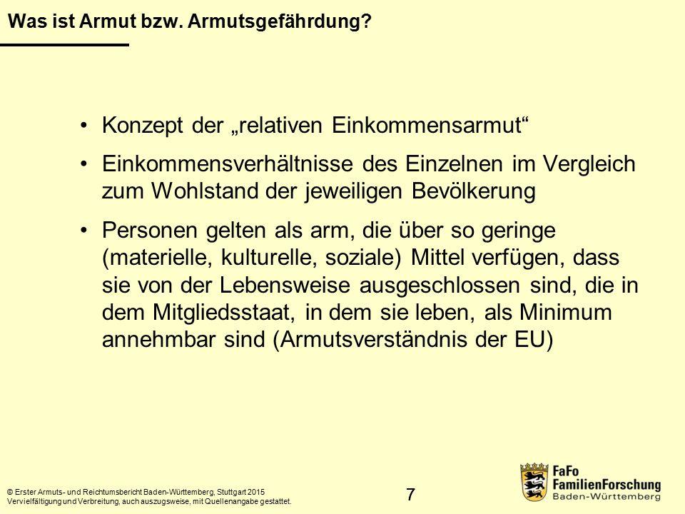 28 Armutsprofile © Erster Armuts- und Reichtumsbericht Baden-Württemberg, Stuttgart 2015 Vervielfältigung und Verbreitung, auch auszugsweise, mit Quellenangabe gestattet.