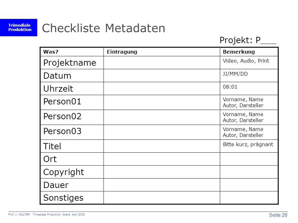 Trimediale Produktion Seite 26 Prof. J. WALTER Trimediale Produktion Stand: April 2002 Checkliste Metadaten Was?EintragungBemerkung Projektname Video,