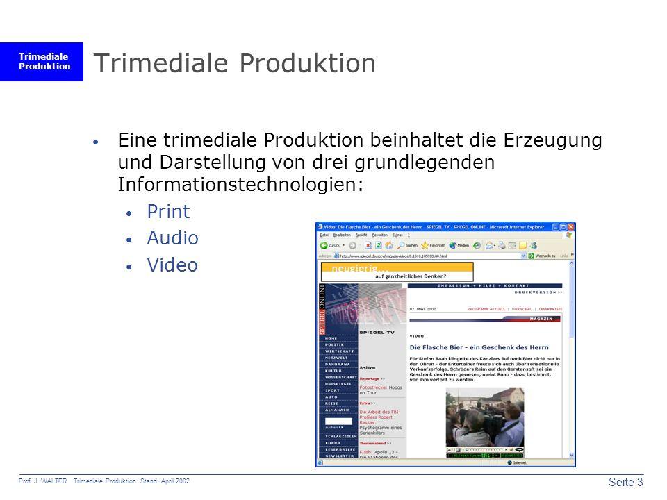 Trimediale Produktion Seite 3 Prof. J.