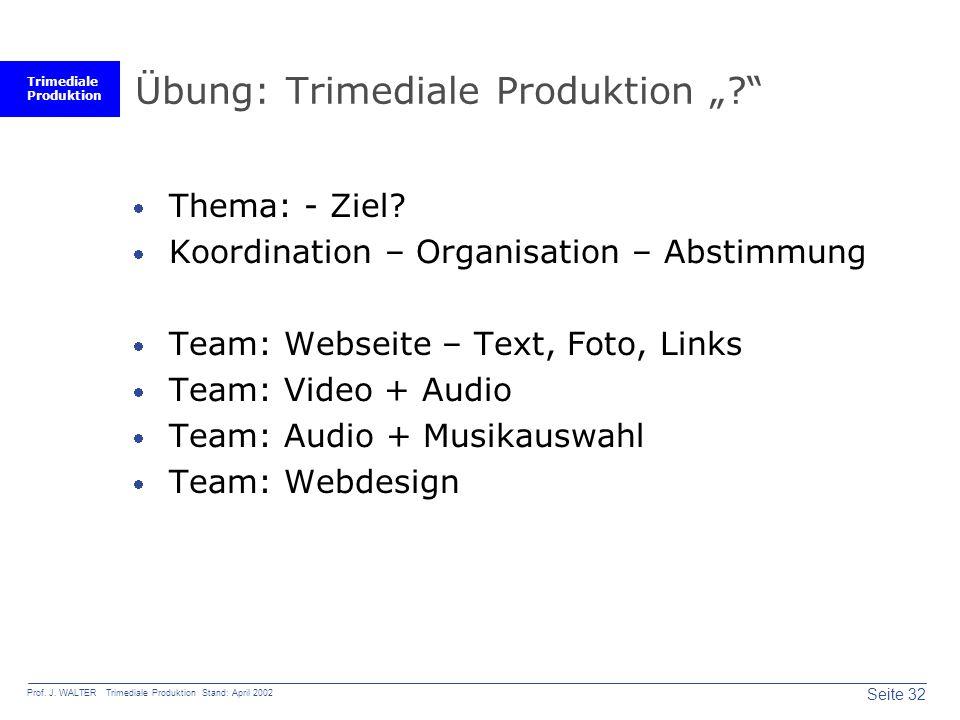 Trimediale Produktion Seite 32 Prof. J.