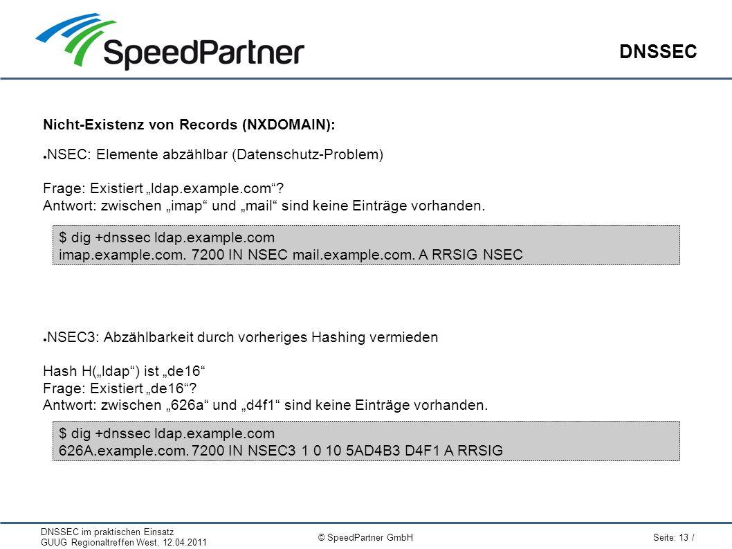 """DNSSEC im praktischen Einsatz GUUG Regionaltreffen West, 12.04.2011 Seite: 13 / © SpeedPartner GmbH DNSSEC Nicht-Existenz von Records (NXDOMAIN): ● NSEC: Elemente abzählbar (Datenschutz-Problem) Frage: Existiert """"ldap.example.com ."""