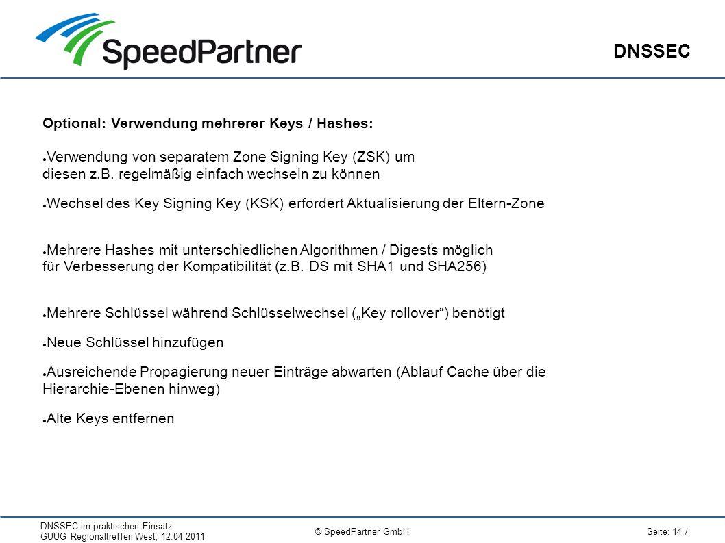 DNSSEC im praktischen Einsatz GUUG Regionaltreffen West, 12.04.2011 Seite: 14 / © SpeedPartner GmbH DNSSEC Optional: Verwendung mehrerer Keys / Hashes: ● Verwendung von separatem Zone Signing Key (ZSK) um diesen z.B.