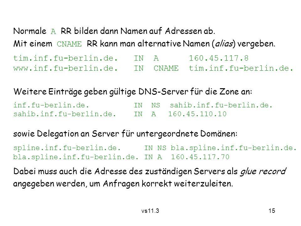 15 vs11.3 Weitere Einträge geben gültige DNS-Server für die Zone an: inf.fu-berlin.de. IN NS sahib.inf.fu-berlin.de. sahib.inf.fu-berlin.de.IN A 160.4
