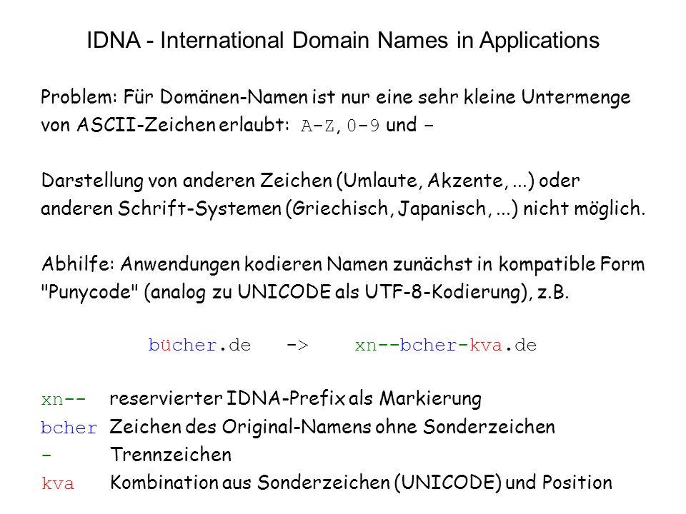 17 vs11.3 IDNA - International Domain Names in Applications Problem: Für Domänen-Namen ist nur eine sehr kleine Untermenge von ASCII-Zeichen erlaubt: