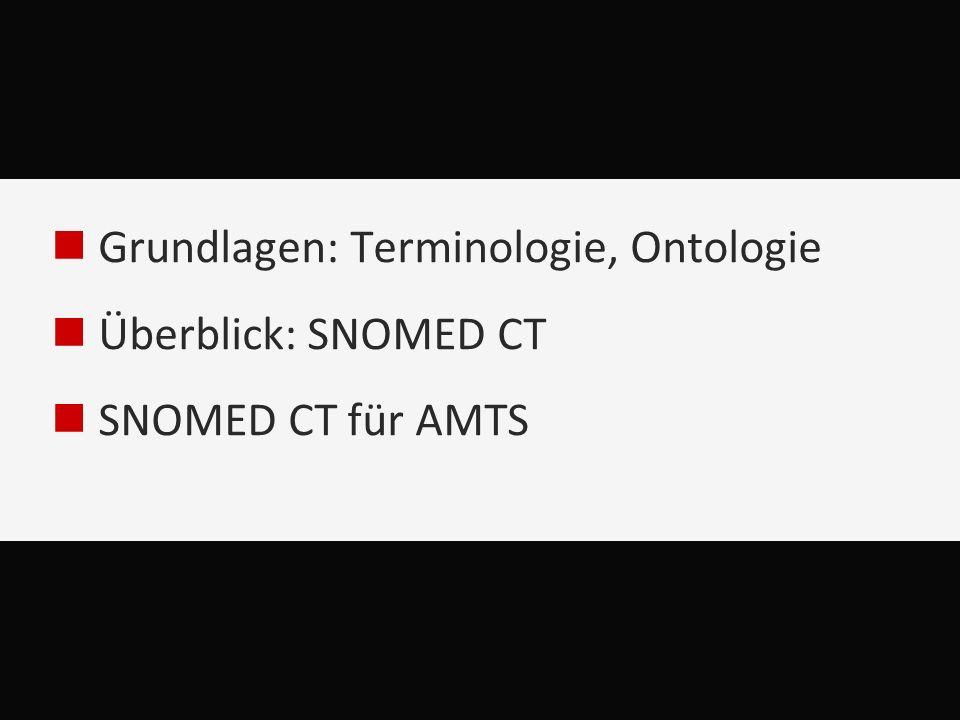 Grundlagen: Terminologie, Ontologie Überblick: SNOMED CT SNOMED CT für AMTS