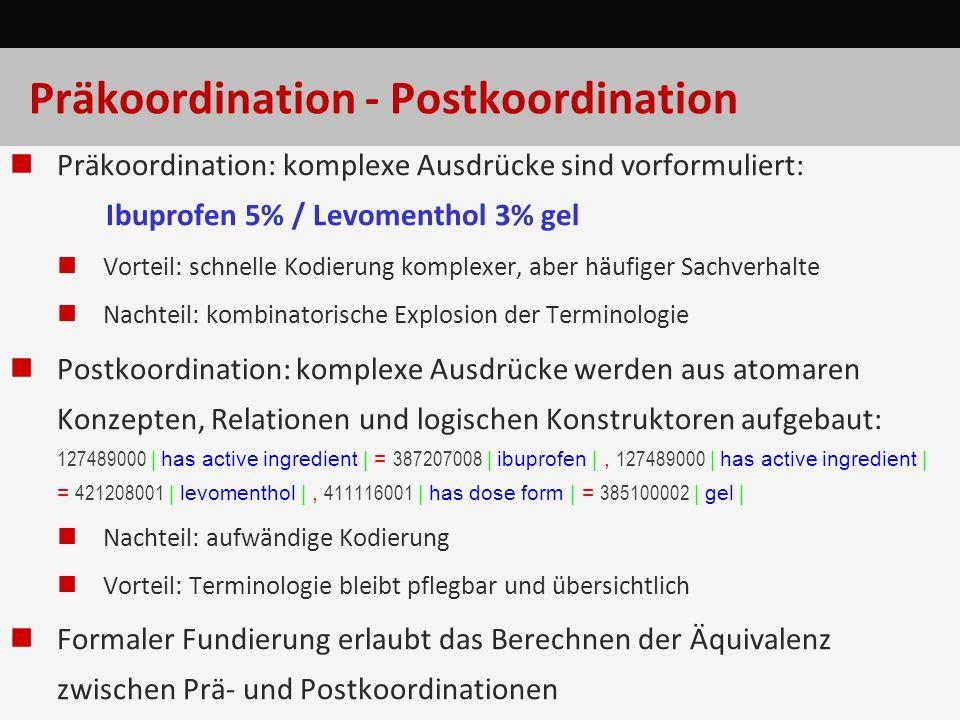 Präkoordination - Postkoordination Präkoordination: komplexe Ausdrücke sind vorformuliert: Ibuprofen 5% / Levomenthol 3% gel Vorteil: schnelle Kodieru