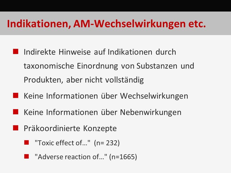 Indikationen, AM-Wechselwirkungen etc. Indirekte Hinweise auf Indikationen durch taxonomische Einordnung von Substanzen und Produkten, aber nicht voll