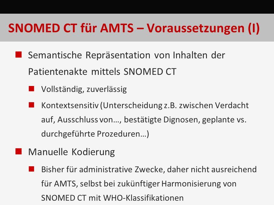 SNOMED CT für AMTS – Voraussetzungen (I) Semantische Repräsentation von Inhalten der Patientenakte mittels SNOMED CT Vollständig, zuverlässig Kontexts