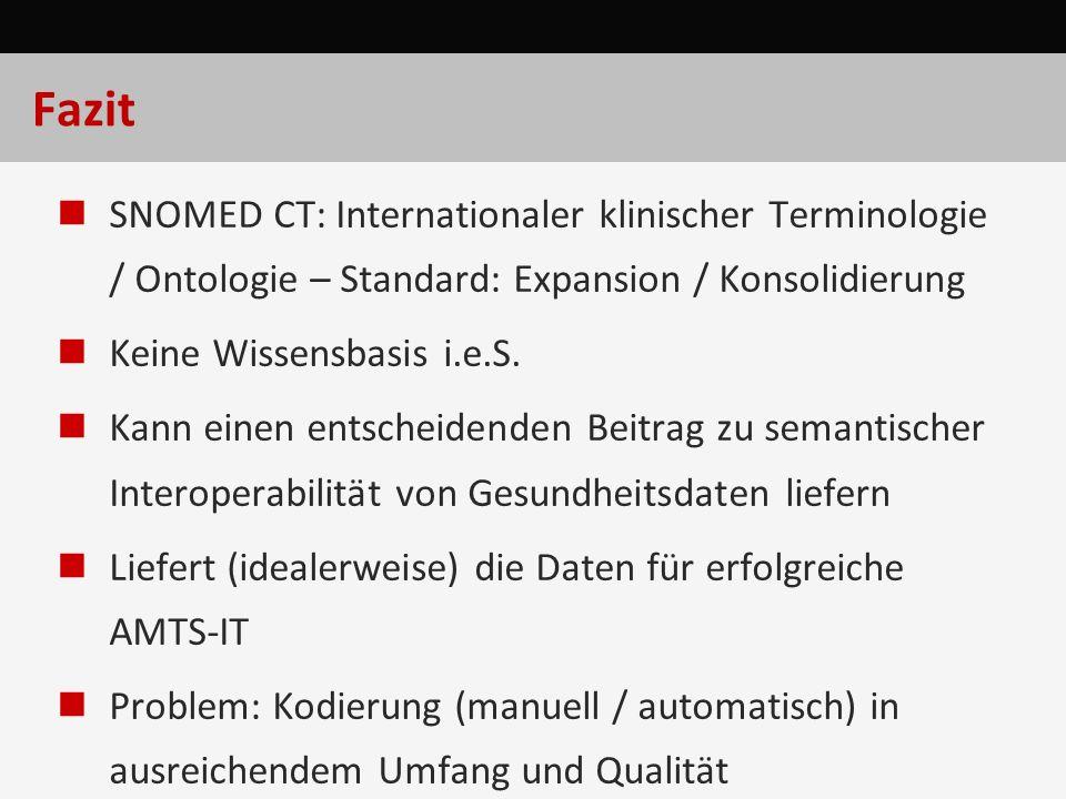 Fazit SNOMED CT: Internationaler klinischer Terminologie / Ontologie – Standard: Expansion / Konsolidierung Keine Wissensbasis i.e.S. Kann einen entsc