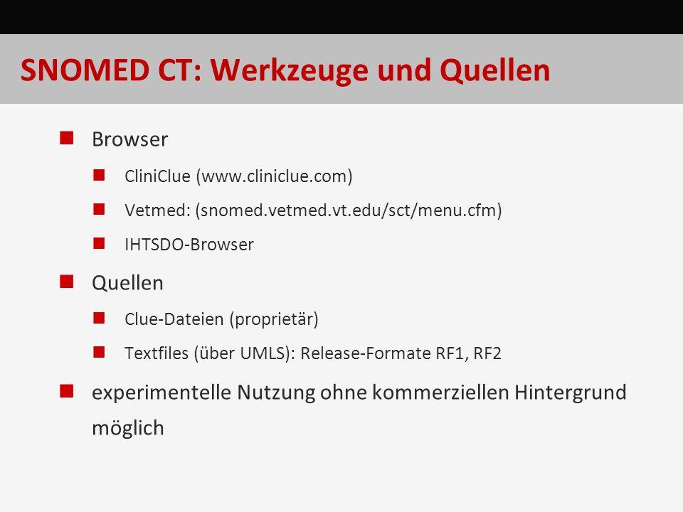 SNOMED CT: Werkzeuge und Quellen Browser CliniClue (www.cliniclue.com) Vetmed: (snomed.vetmed.vt.edu/sct/menu.cfm) IHTSDO-Browser Quellen Clue-Dateien