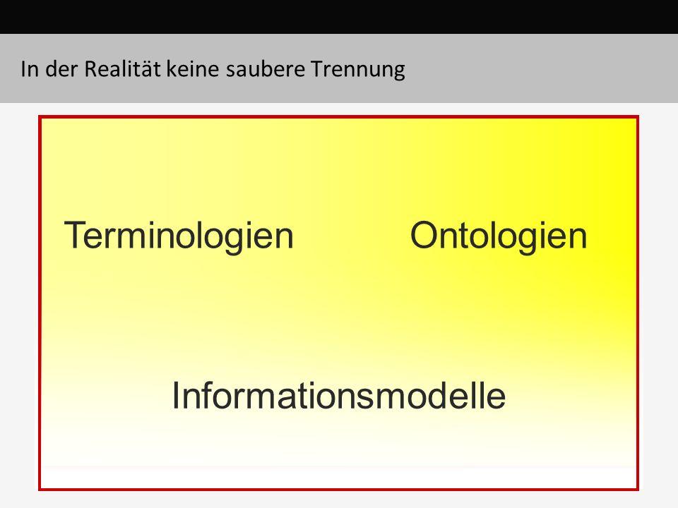 In der Realität keine saubere Trennung TerminologienOntologien Informationsmodelle