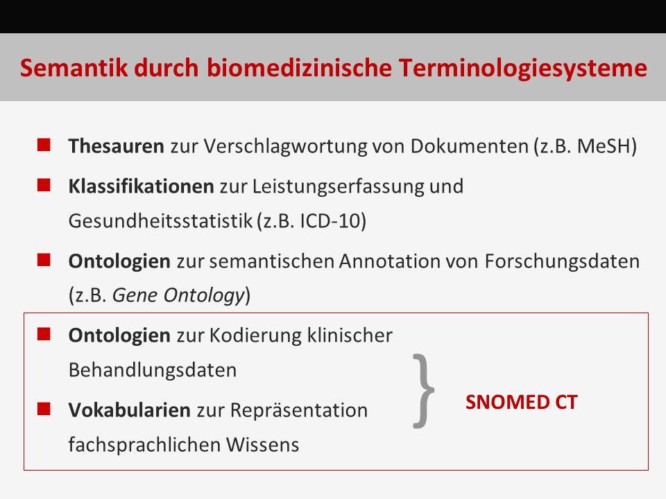SNOMED CT: Werkzeuge und Quellen Browser CliniClue (www.cliniclue.com) Vetmed: (snomed.vetmed.vt.edu/sct/menu.cfm) IHTSDO-Browser Quellen Clue-Dateien (proprietär) Textfiles (über UMLS): Release-Formate RF1, RF2 experimentelle Nutzung ohne kommerziellen Hintergrund möglich