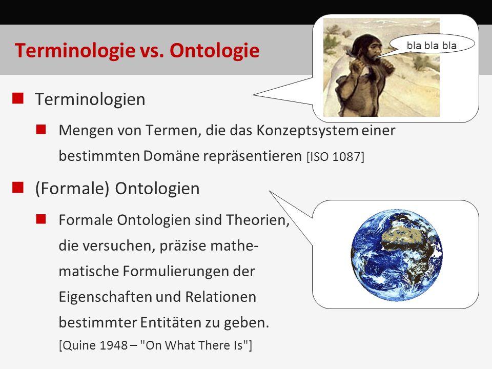 Terminologie vs. Ontologie Terminologien Mengen von Termen, die das Konzeptsystem einer bestimmten Domäne repräsentieren [ISO 1087] (Formale) Ontologi