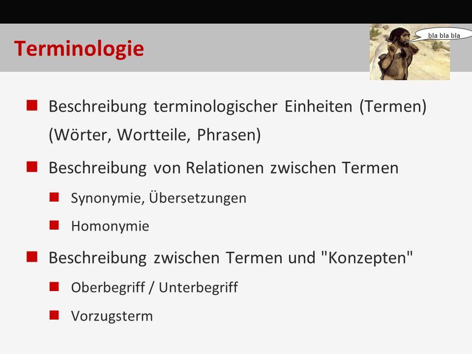 Terminologie Beschreibung terminologischer Einheiten (Termen) (Wörter, Wortteile, Phrasen) Beschreibung von Relationen zwischen Termen Synonymie, Über