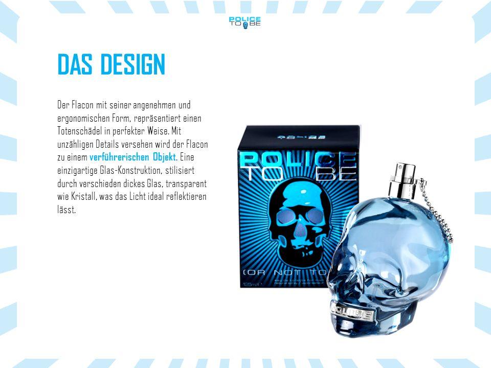 DAS DESIGN Der Flacon mit seiner angenehmen und ergonomischen Form, repräsentiert einen Totenschädel in perfekter Weise.