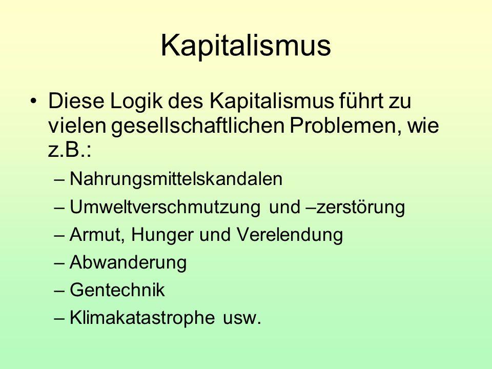 Kapitalismus Diese Logik des Kapitalismus führt zu vielen gesellschaftlichen Problemen, wie z.B.: –Nahrungsmittelskandalen –Umweltverschmutzung und –z