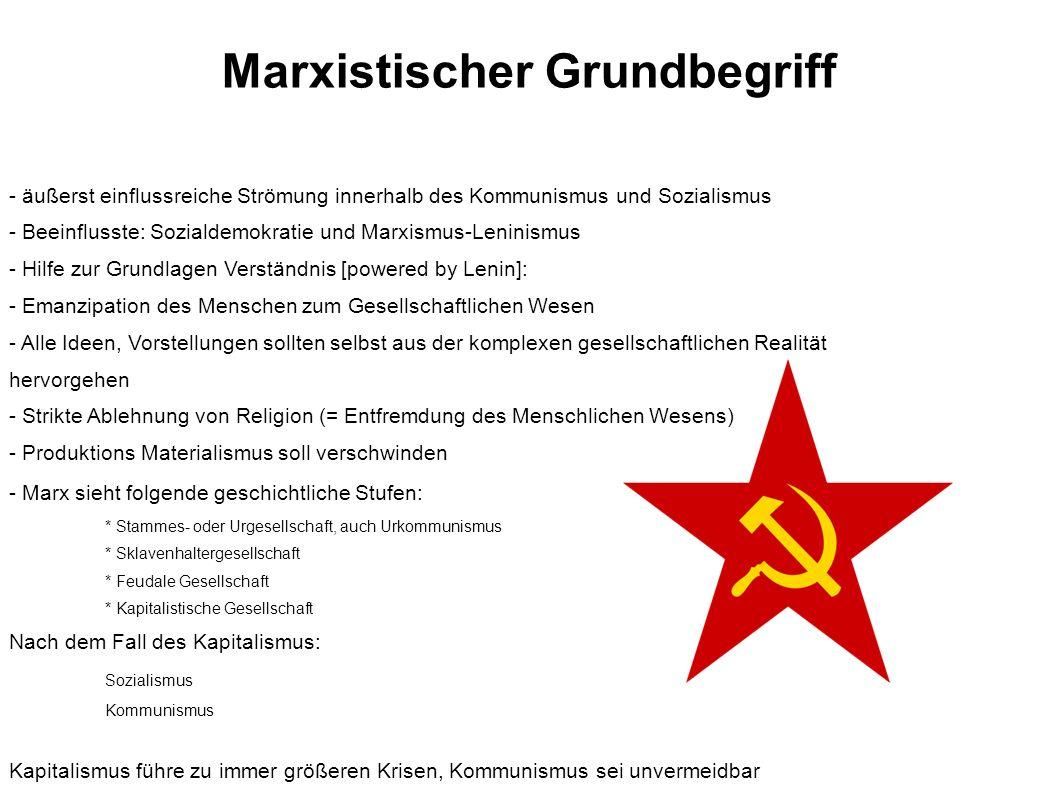 Marxistischer Grundbegriff - äußerst einflussreiche Strömung innerhalb des Kommunismus und Sozialismus - Beeinflusste: Sozialdemokratie und Marxismus-