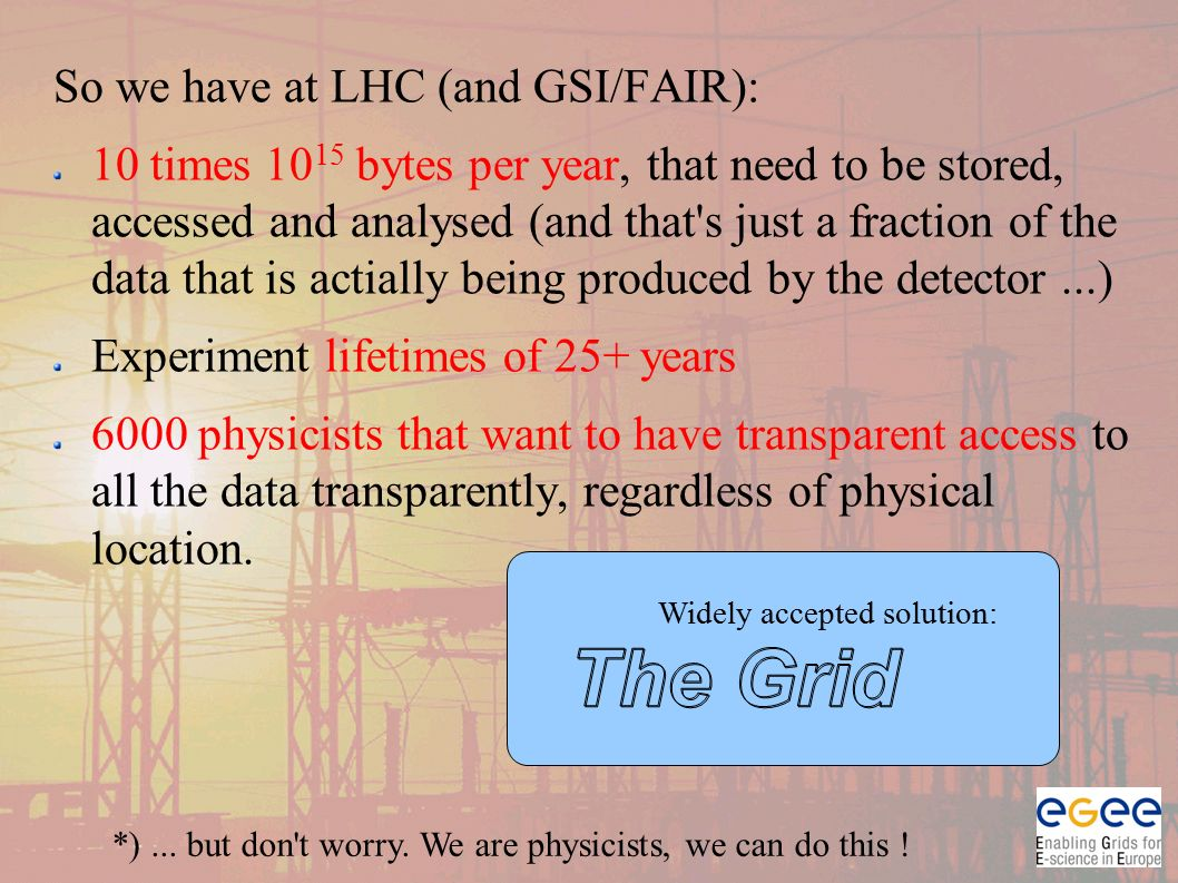 So we have at LHC (and GSI/FAIR): 10 times 10 15 bytes per year, that need to be stored, accessed and analysed (and that s just a fraction of the data that is actially being produced by the detector...) Experiment lifetimes of 25+ years 6000 physicists that want to have transparent access to all the data transparently, regardless of physical location.
