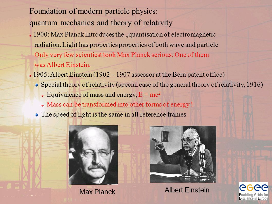 "Foundation of modern particle physics: quantum mechanics and theory of relativity 1900: Max Planck introduces the ""quantisation of electromagnetic radiation."