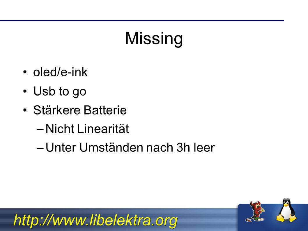 http://www.libelektra.org Missing oled/e-ink Usb to go Stärkere Batterie –Nicht Linearität –Unter Umständen nach 3h leer