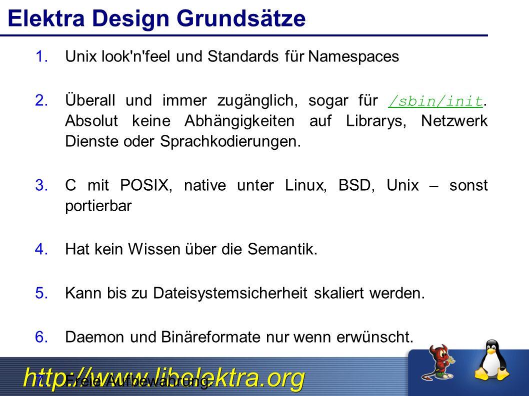http://www.libelektra.org Elektra Design Grundsätze 1.Unix look'n'feel und Standards für Namespaces 2.Überall und immer zugänglich, sogar für /sbin/in