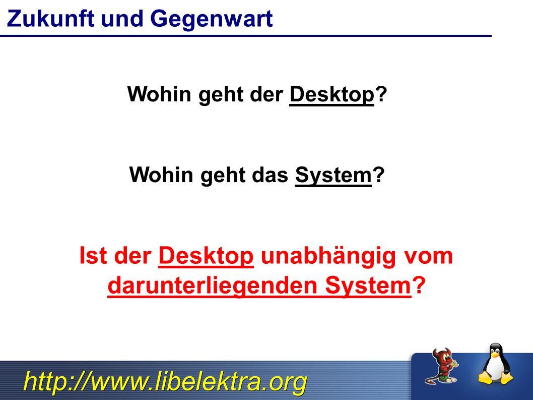 http://www.libelektra.org Zukunft und Gegenwart Wohin geht der Desktop? Wohin geht das System? Ist der Desktop unabhängig vom darunterliegenden System