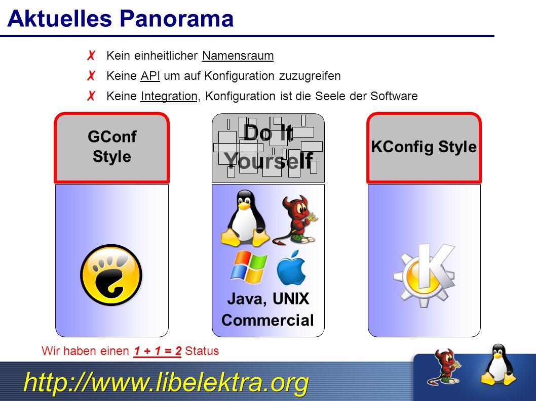 http://www.libelektra.org C API Methods ksNew() ksDel() ksInsertKey() ksInsertKeys() ksAppendKey() ksAppendKeys() ksToStream() ksFromXML() ksCompare() ksNext() ksRewind() ksLookupByName() ksLookupByValue() ksLookupRE() keyNew() keyDel() keyDup() keyIsSystem() keyIsUser() keyIsDir() keyIsLink() keyToStream() keyGetType() keySetType() keyGetName() keySetName() keyGetUID() keySetUID() keyGetGID() keySetGID() keyGetAccess() keySetAccess() keyGetOwner() keySetOwner() keyGetCommentSize() keyGetComment() keySetComment() keyGetDataSize() keyGetString() keyGetBinary() keySetBinary() keyGetLink() keySetLink() keyGetMTime() keyGetATime() keyGetCTime() kdbOpen() kdbClose() kdbStatKey() kdbGetKey() kdbGetChildKeys() kdbSetKey() kdbSetKeys() kdbGetRootKeys() kdbMonitorKey() kdbMonitorKeys()