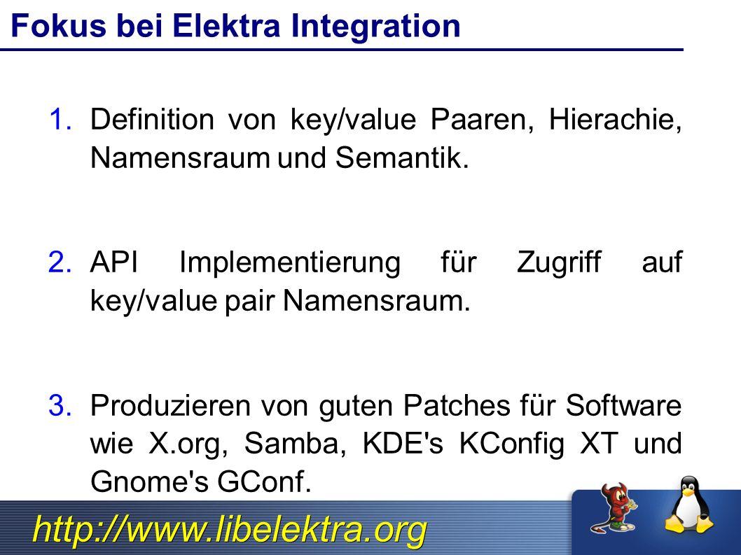 http://www.libelektra.org KDE, QT and Elektra OS (Linux/BSD/Windows) Elektra API QT (class QConfig) KDE (class KConfig) KDE App QT Application (cross platform)