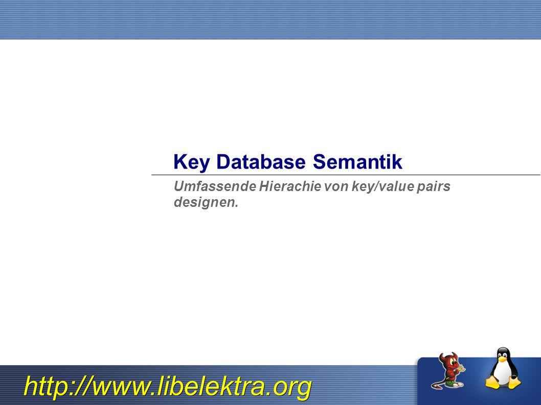 http://www.libelektra.org Linux/UNIX key/value DB Schwierig Software so zu paketieren, dass es mit anderer Software zusammenspielt.