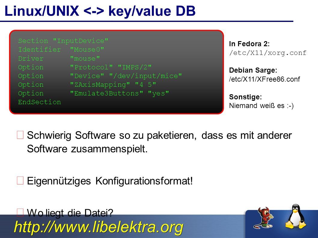 http://www.libelektra.org Linux/UNIX key/value DB Schwierig Software so zu paketieren, dass es mit anderer Software zusammenspielt. Eigennütziges Konf